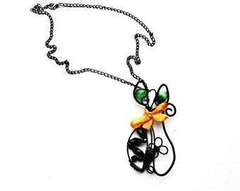 Black Cat Pendant Necklace Wire Wrap Green Cat Eye Gemstone Glass Crystal Wrapped Trendy Jewelry Boho Kitty Bohemian Dangle Charm Necklace