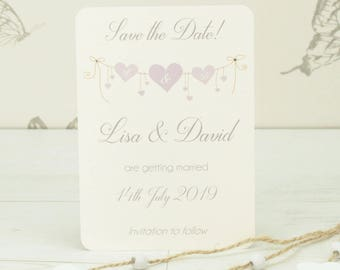 Personalised Heart Strings Wedding Save the Date Card