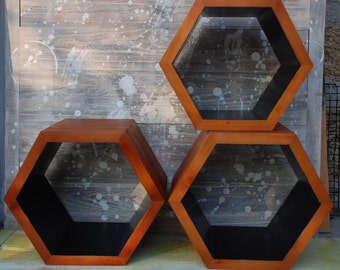 ALL SIZES Set of 3 wooden wall shelves,geometric shelf,hexagon shelf,Hexagon shelving,rustic wall shelves,wall furniture,industrial shelves