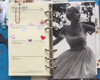 Black and White Personal Planner Dashboard, Marilyn Monroe style 3, recycled wallpaper, Film Star, Single Sided, Laminated, planner addict