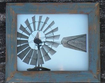 Rustic Blue Country Wood Picture Frame, Distressed Blue Barn Wood Frame, Windmill Photo, Old Windmill Picture, Iowa Barn Photos, Sunflower