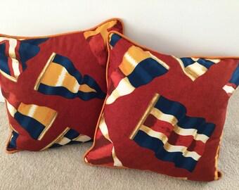 Nautical pillows flags