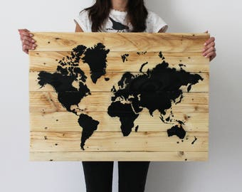 Picture WORLD 70x50 natural wood handmade with natural wood Handmade wooden pallets/WORLD MAP made of recycled wooden pallets