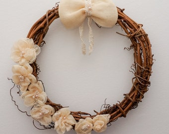 Wedding decor, Engagement Wreath, Wedding Wreath, Rustic, Valentine Wreath, Front Door Wreath, Home Decor, Door Decor, Grapevine Wreath, 12""