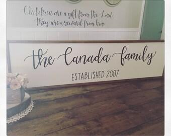 48x12 Family Name Framed Wooden Sign