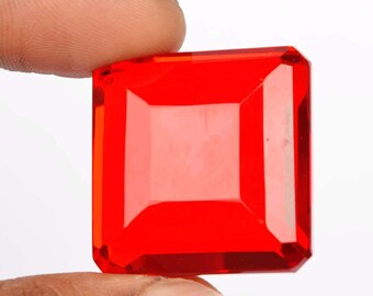 red topaz 127.9 ct. loose egl certified 29x29 mm brazilian square cut jewelry grade deep blood red faceted  Superb Clarity-Mystic Gem b-5878