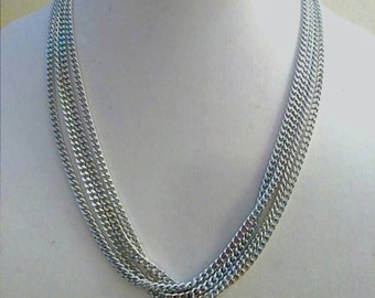 Silver Multi Layer Necklace, Sarah Coventry Jewelry, Chain Necklace, Designer Signed Jewelry,  Accessory, Boutique, Fashion Jewelry