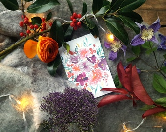 Shown 2017 greeting card in watercolor - Greetings cards watercolor - France - map flowers free shipping - holidays