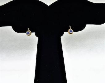 Petite 18k YG Blue Zircon Earrings