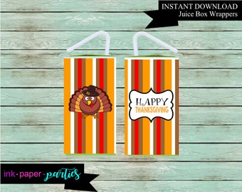 Printable Thanksgiving Turkey Juice Box Wrappers Party Favors Favor Labels Digital File Instant Download