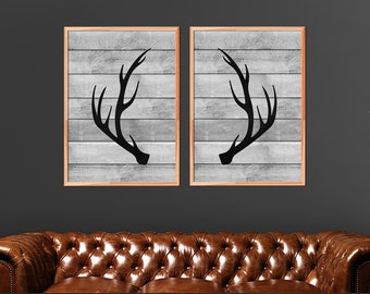 Antlers Print Set, Antler Prints, Set Of 2, Woodland Decor, Deer Antlers