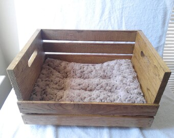 Wooden  crate pet bed for small dogs & cats with free cushion
