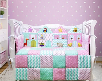Crib bedding for girl, Toddler girl bedding, Nursery bedding set, Pastel nursery decor, Baby girl nursery  decor (008)