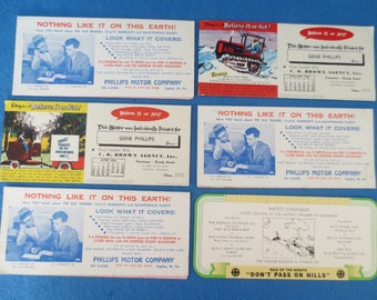 6 Vintage Automobile and Insurance Advertising Ink Blotter Lot