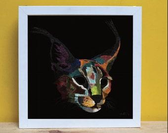 PRINT, Ilustración, Lince, Lynx,Ilustración digital, Decoración, Ilustración colorida, Fondo negro, Felino, Decoración original, Gato, Arte