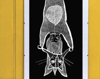 PRINT, Girl illustration, Home decor, Digital illustration, Girl and hat, Cat hat, Black and white, Art, Original gift, Original present
