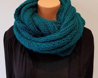 Dark Teal Hand Knit Infinity Scarf