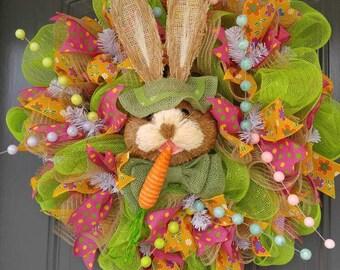 Green Easter Bunny Wreath, Easter Wreath, Wreath, Spring Wreath, Door Wreath