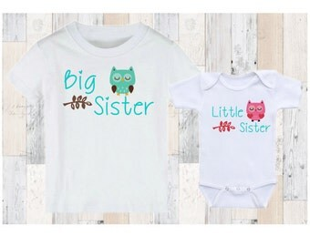 Big Sister Little Sister Owls - Matching Shirt Set