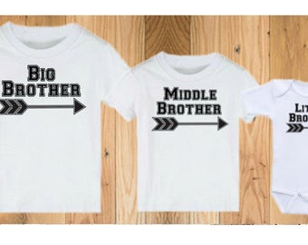 Big Brother Middle Brother Little Brother Matching Shirts - Personalized Brother Shirts - Brother Shirts with Names - Middle Brother Shirt