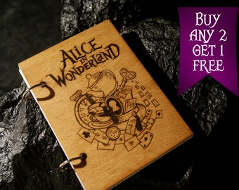 Alice in Wonderland wooden notebook / Alice in Wonderland notebook / sketchbook / diary / journal / travelbook / Wonderland gift