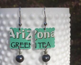Recycled Soda Pop Can Arizona Green Tea Earrings