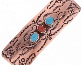 Copper Hair Barrette Southwest Navajo Coral Turquoise