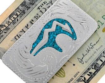 Turquoise Money Clip Silver Engraved Hopi Heartline Bear