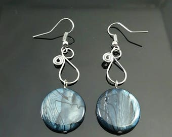 HANDMADE Black Glass Swirl Earrings