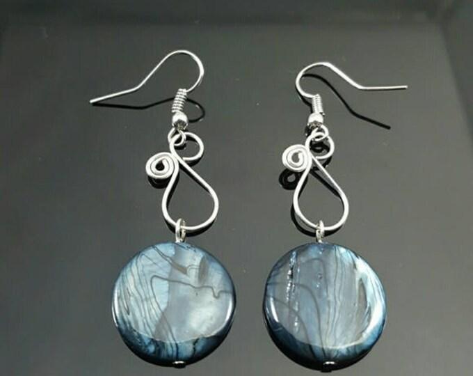 HANDMADE Black Glass Swirl Earrings