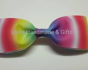 Handmade Rainbow Bow Hair Clip