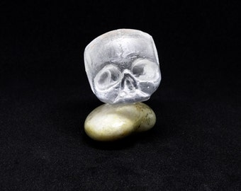 Kiln Cast Glass Skull Sculpture or Paperweight