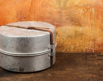 Military set of pots, Aluminum Camping set, Military Cook Pot,  Backpacking Gear, Boy Scout Mess Kit, Camping Supply, survival kit, army kit