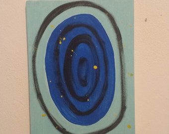 Original Modern Art Abstract Acrylic Painting on Small Stretched Canvas - Blue/Black/Yellow/Circles
