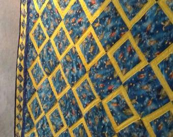 "Handstitched handmade queen size quilt! Called the ""AQUARIUM "" Blue ribbon winner"