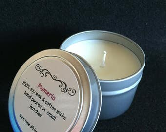 Plumeria scented candle, 4oz tin candle, 100% soy wax, metal tin candle, hand poured, travel tin candle, gifts under 20