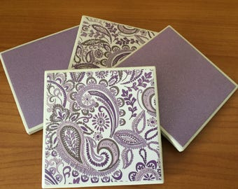 Purple and White Paisley, set of 4, decoupage tile coasters