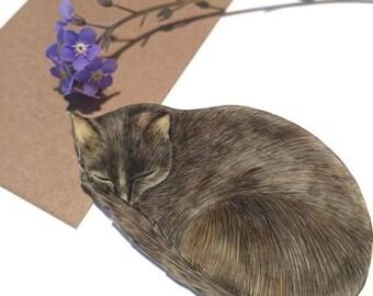 Hand drawn sleeping cat brooch pin.