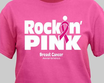 Personalized Rockin Pink Breast Cancer Awareness T-Shirt Custom Name Gift