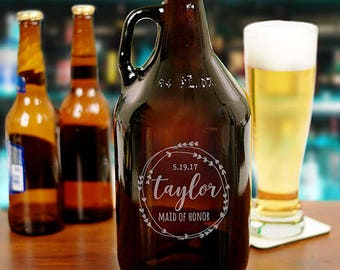Personalized Bridal Party Beer Growler Custom Name Gift