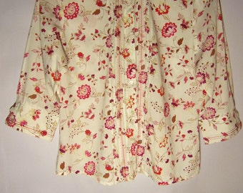 Vintage Womens Blouse/ White Pink Purple/Flowers Print/Marks &  Spencer Blouse/Summer Cotton Blouse/ Button Up/ 3/4 Sleeve/ Size M