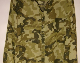 Vintage Womens Blouse/ Camouflage Blouse/ Transparent Blouse/Summer Blouse/Party Blouse/ Long Sleeve/Button Up/ Size M