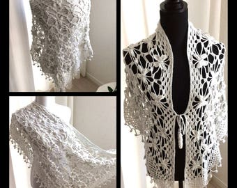 Exclusive, crochet bolero, top, vest, jacket, scarf/shawl which consists of butterfly without sleeves with front closure, white soft cotton.