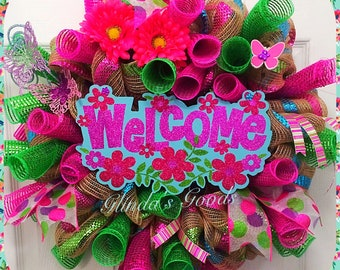 Welcome wreath, Door wreath, spring wreath, summer wreath