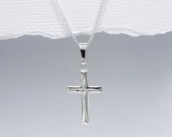 Godmother Gift Necklace, Goddaughter Gift Necklace, Cross Necklace, Sterling Silver Cross, Baptism Gift Necklace, Confirmation Gift Necklace