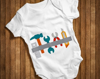 Tool Belt For Kids Dady Assistant Funny Baby Humor Hip Baby bodysuit Baby One Piece,Burp Clothes Birthday Present gift BODY-PASUKTAS-WHITE-6