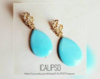 Boho turquoise earrings, boho jewelry, wife earrings gift, everyday earrings, dainty earrings, dangle earrings, flower earrings, mum gift
