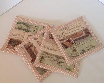 quilted retro tea coasters set 4
