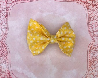 Yellow with White Polkadots Bow