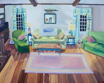 Cozy Living Room Art Print, Colorful Apartment Art Print, Home is Where I Want to be Art